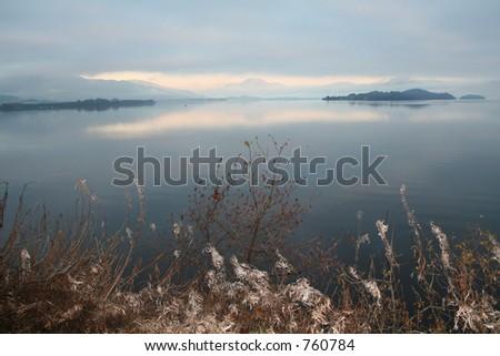 Morning over Loch lomond - stock photo