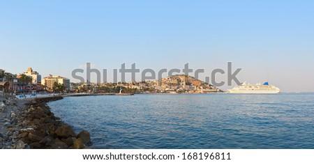 Morning panorama of Kusadasi Turkey - travel background - stock photo
