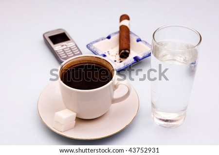 Morning planning daily job with coffe - stock photo