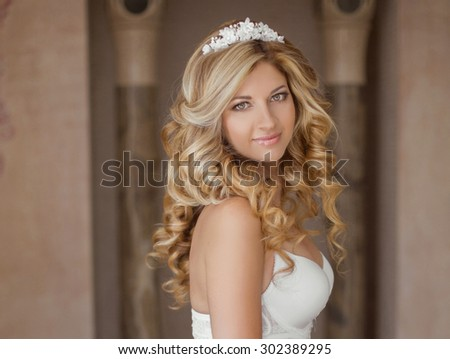Morning Portrait of beautiful bride. Wedding dress. Wedding decoration. - stock photo