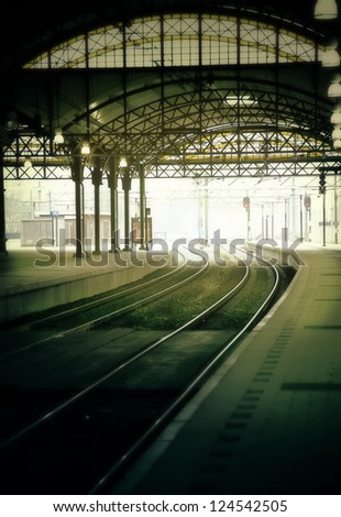 morning rail station - stock photo