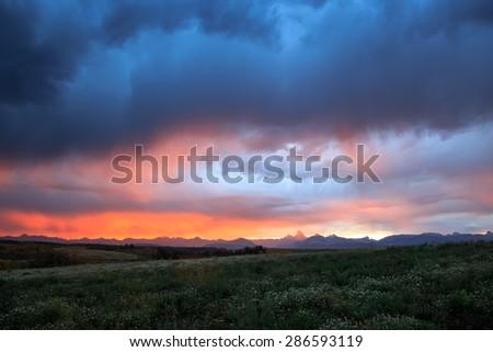 Morning Rain Storm - stock photo