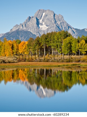 Morning reflection of Mt. Moran at Oxbow Bend in Grand Tetons National Park.