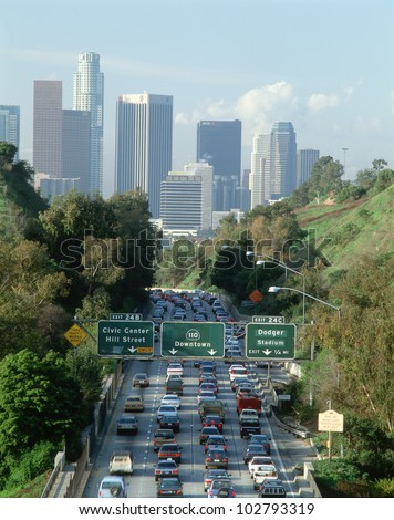 Morning rush hour traffic on Pasadena Freeway into downtown Los Angeles, California - stock photo