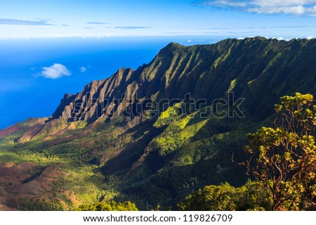 Morning scene at the Napali Coast in Kauai, Hawaii Islands. - stock photo