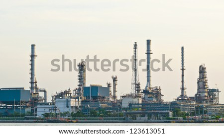 Morning scene of oil refinery factory  in the early morning