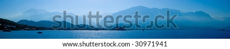 morning sea-piece is in blue tones - stock photo