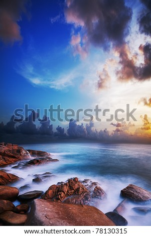 Morning seascape. Long exposure shot. - stock photo
