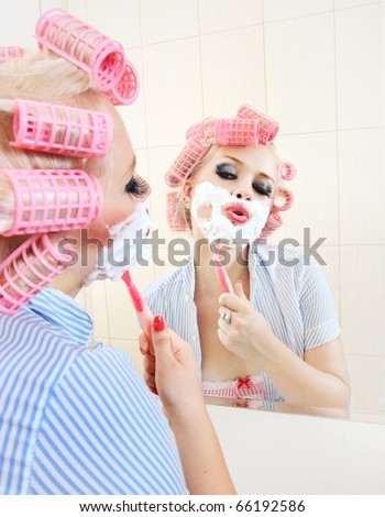 Morning shave, similar available in my portfolio - stock photo