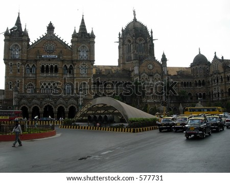 Morning shot of Victoria Terminal (railway station)(CST) in mumbai - stock photo