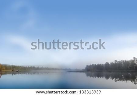 Morning soft fog on a lake - stock photo