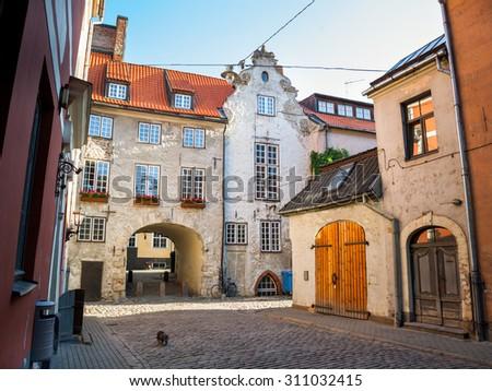Morning street in the old city of Riga, Latvia - stock photo