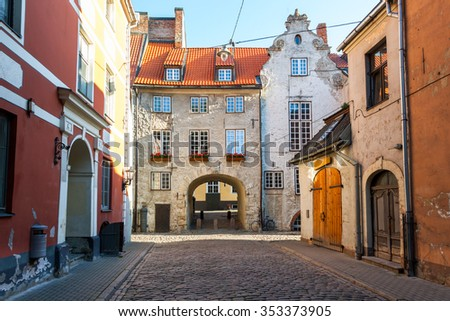 Morning summer medieval street in the old city of Riga, Latvia - stock photo