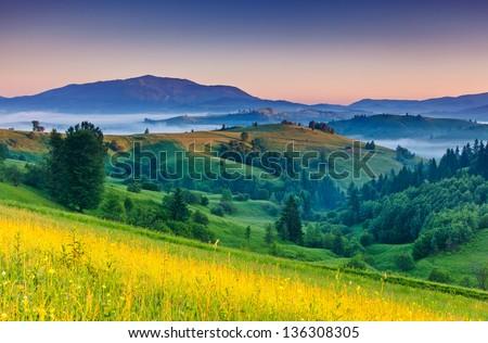 Morning sunny day is in mountain landscape. Carpathian, Ukraine, Europe. Beauty world. - stock photo