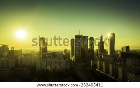 Morning sunrise above Warsaw Downtown, Poland - stock photo