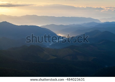 Morning sunrise at Phu chi phur viewpoint ,Mae Hong Son Northern, Thailand.