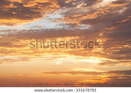 morning sunrise Cloud covered the sky And sunlight reflected off the clouds - stock photo