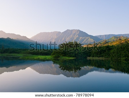 Morning Sunrise on Mountains and Lake in Hawaii