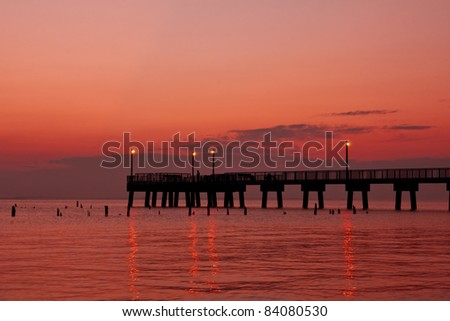 Morning sunrise on the Delaware Bay. - stock photo
