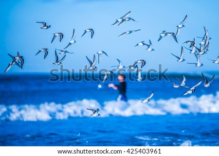 morning sunrise over ocean waters - stock photo