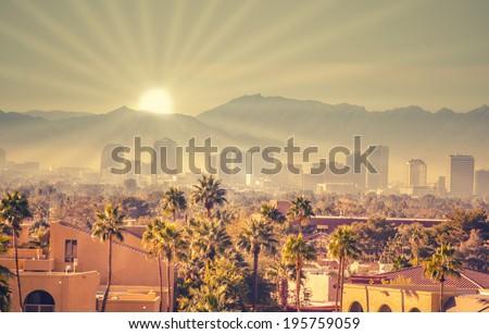 Morning sunrise over Phoenix, Arizona, USA - stock photo