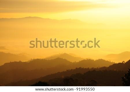 Morning sunshine over the mist forest national park, Thailand - stock photo