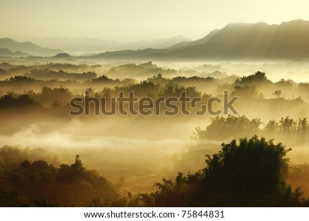 morning sunshine with fog - stock photo