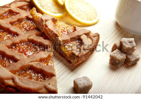 morning tea and cake - stock photo