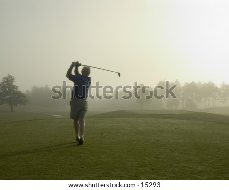 Morning tee shot - stock photo