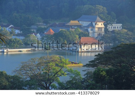 Morning, the city of Kandy in Srilanka woke up in the gentle light - stock photo