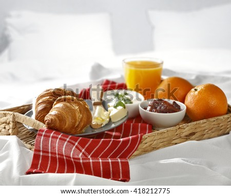 morning time and breakfast and juice  - stock photo