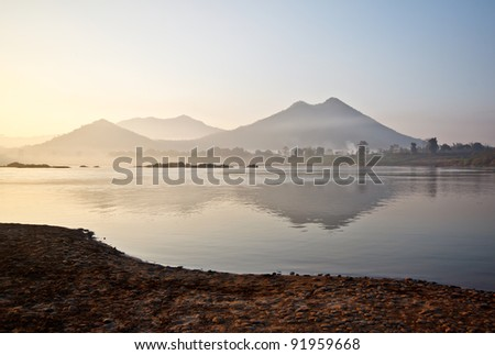 morning time at Mae Kong river in Thailand - stock photo