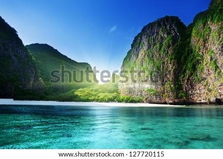 morning time at  Maya bay, Phi Phi Leh island,Thailand - stock photo