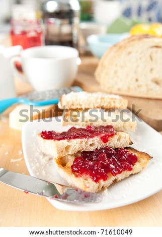 Morning Toasted Whole grain Bread with Jam