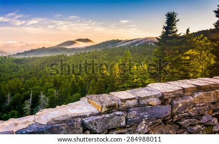 Morning view from Devil's Courthouse, near the Blue Ridge Parkway in North Carolina. - stock photo