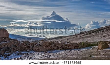 Morning view from the slopes of Kilimanjaro - Tanzania - stock photo