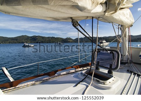 Morning view from yacht of Great Barrier Island, near Auckland, New Zealand - stock photo