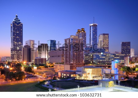 Morning view of downtown Atlanta, Georgia, USA. - stock photo