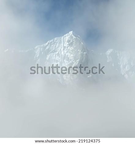Morning view of himalayan peaks from Sounder peak - Thame, Nepal, Himalayas - stock photo