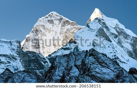 Morning view of Kangtega peak - way to Everest base camp - Nepal - stock photo