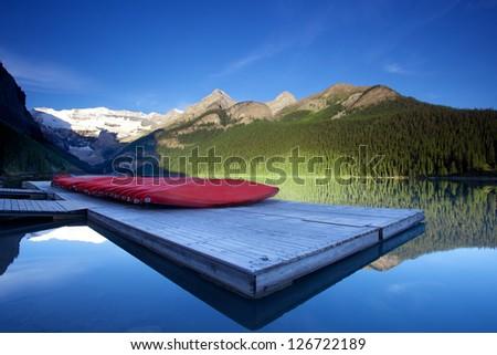 morning view of Lake Louise, Banff, Alberta, Canada - stock photo