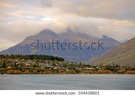 Morning View of Lake Wakatipu and the Walter Peak in Queenstown, New Zealand.