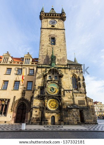 Morning view of Old Town Hall with astronomical clock - stock photo