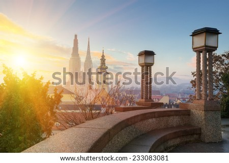 morning view of old Zagreb. Croatia.  - stock photo