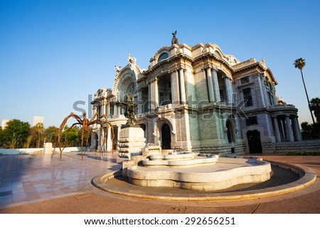 Morning view of palace of fine arts near central Alameda park - stock photo