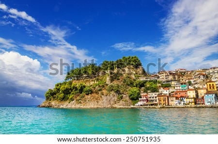 Morning view of Parga, Greece - stock photo