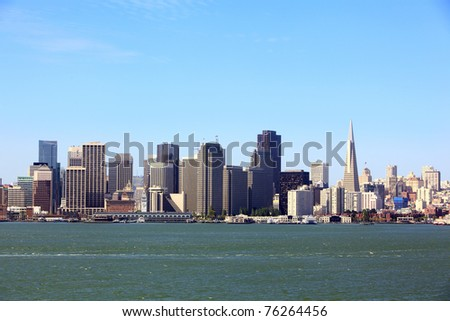 Morning view of San Francisco financial district, USA - stock photo