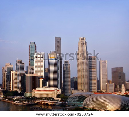 Morning view of Singapore's Central Business District - stock photo