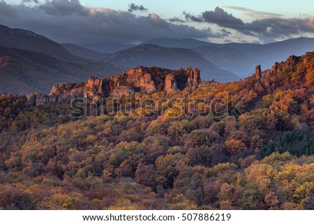 Morning view of the Belogradchik rocks in Bulgaria, lit by the autumn sun.