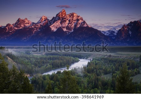 Morning view of the Tetons from the Snake River Overlook - stock photo